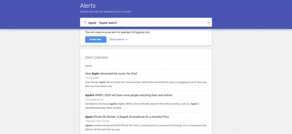 How to add keywords in Google Alerts