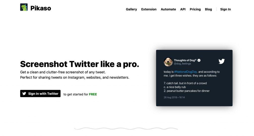 Pikaso screenshot tool as a SnapBird Alternative