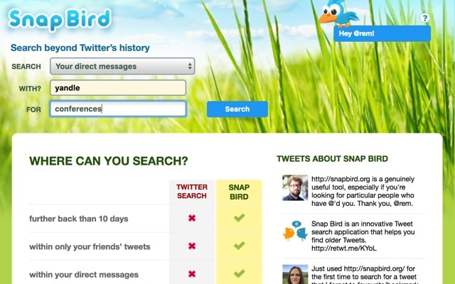 SnapBird Tool to Search in the Twitter History