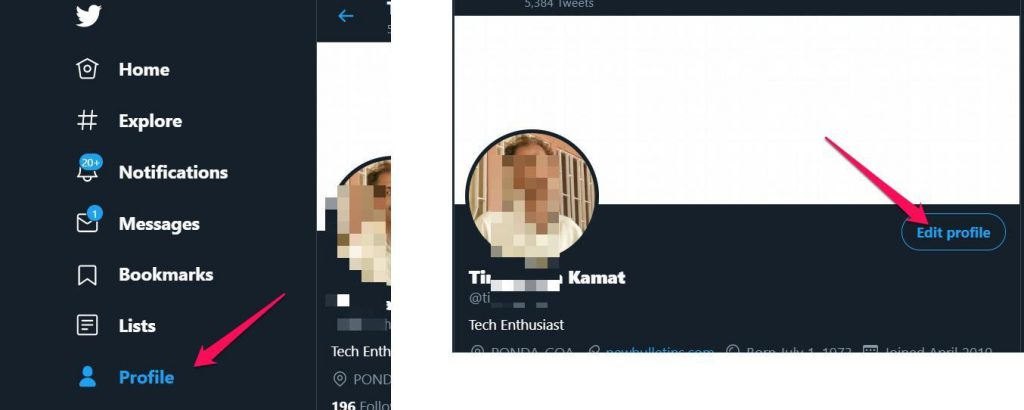 Edit profile settings in Twitter