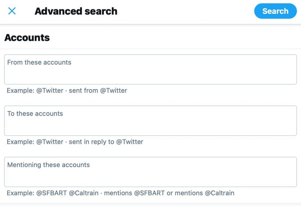 Twitter Advanced Search account fields
