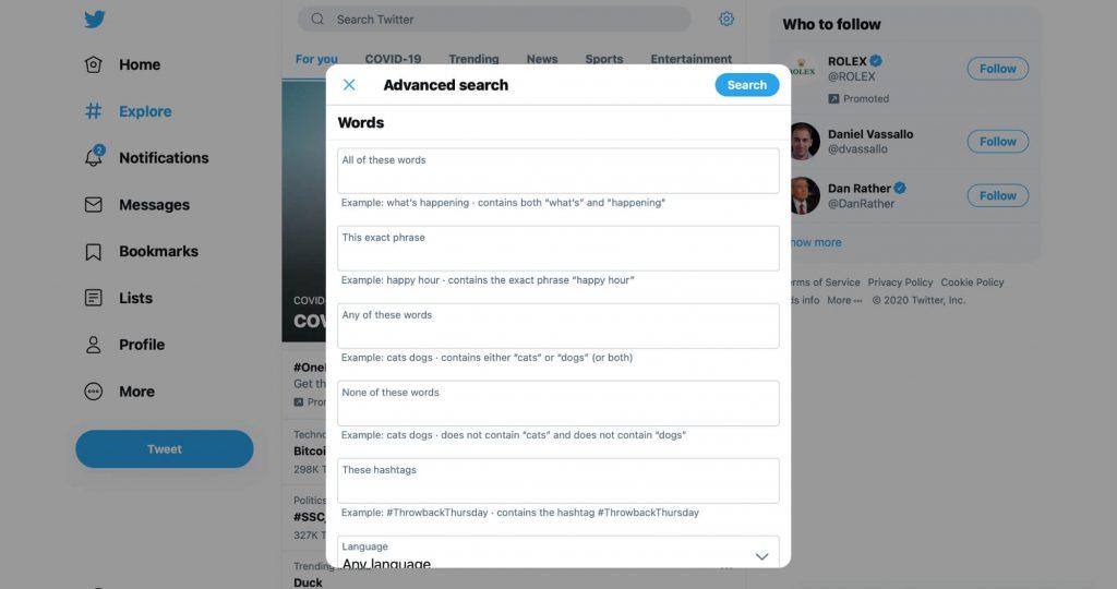 Twitter Advanced seach words fields